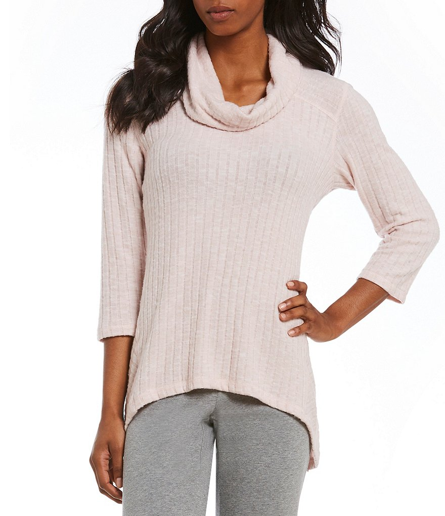 Ruby Rd. Cowl Neck Sharkbite Hem Brushed Rib Jersey Top