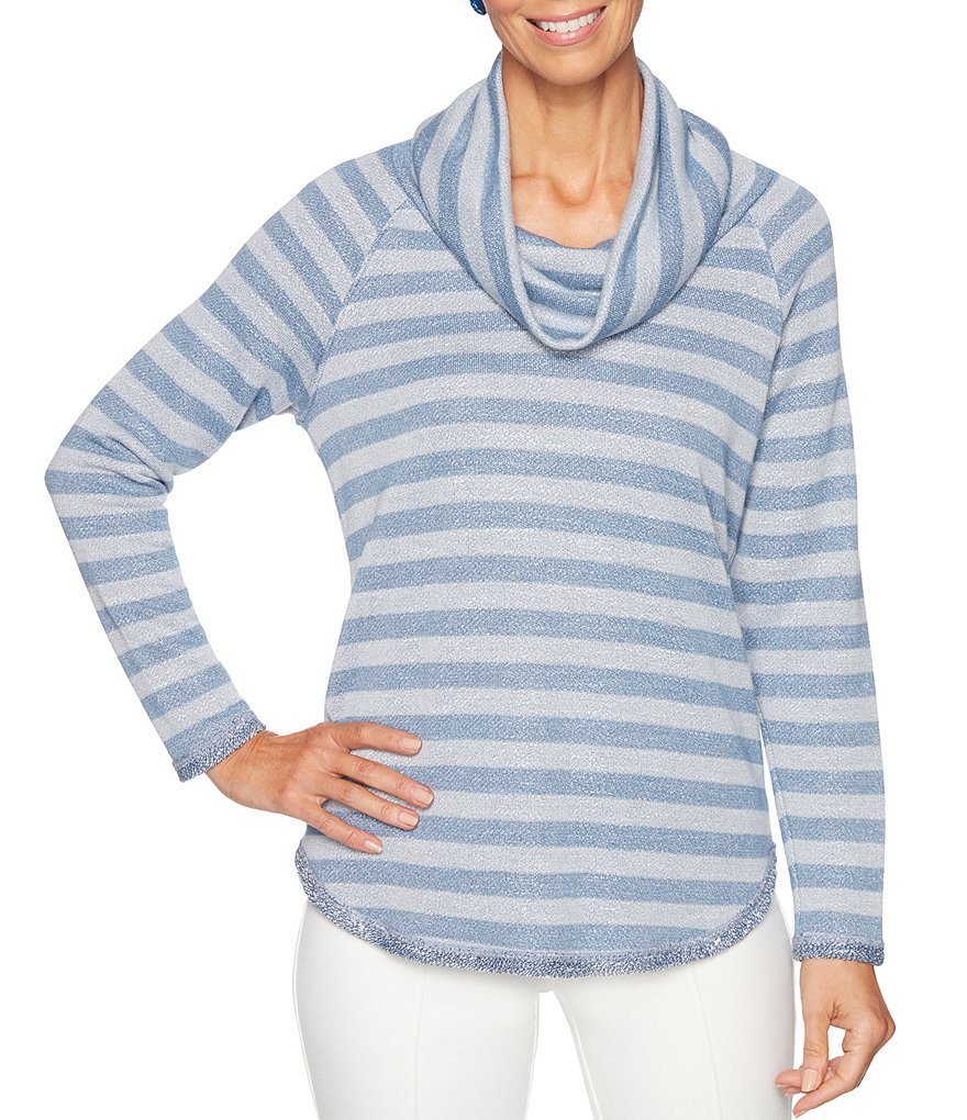Ruby Rd. Cowl Neck Stripe Slub Terry Knit Top