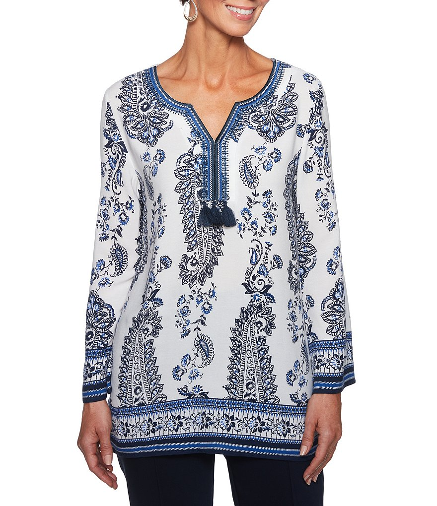 Ruby Rd. Embellished Notch V-Neck Provincial Paisley Border Print Top