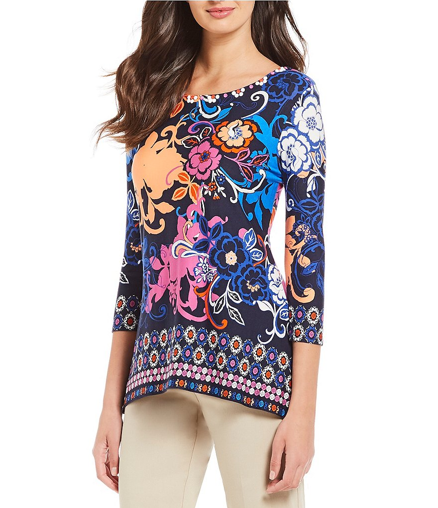Ruby Rd. Embellished Scoop Neck Floral Scroll Border Print Knit Top