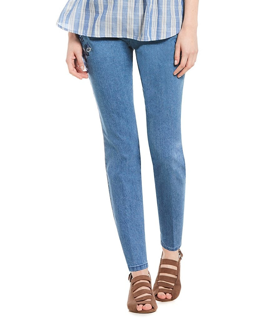 Ruby Rd. Floral Embroidered Stretch Denim Jeans