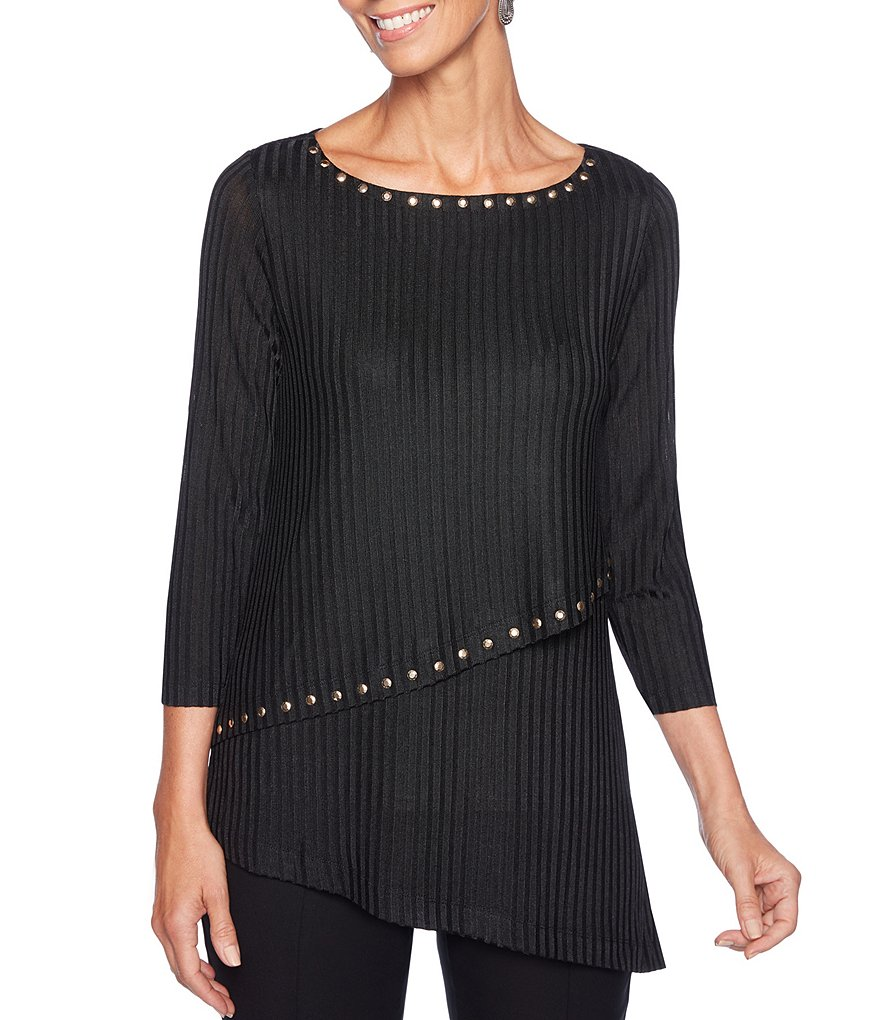 Ruby Rd. Petite Size Embellished Boat-Neck Asymmetrical Hem Heather Top