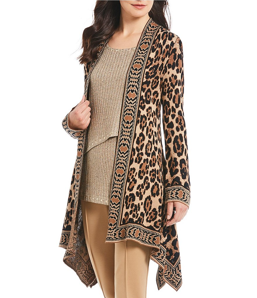 Ruby Rd. Petite Size Open Front Leopard Print Jacquard Cardigan