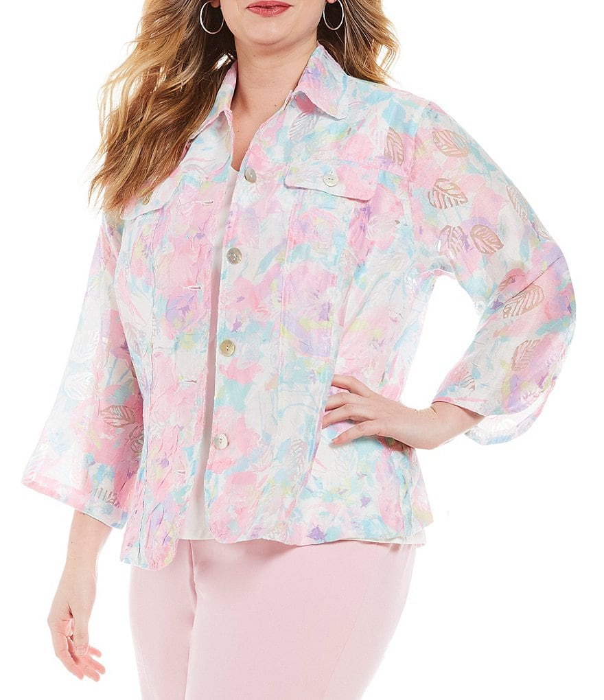 Ruby Rd. Plus 3/4 Sleeve Button Front Peony Garden Print Crinkle Burnout Jacket