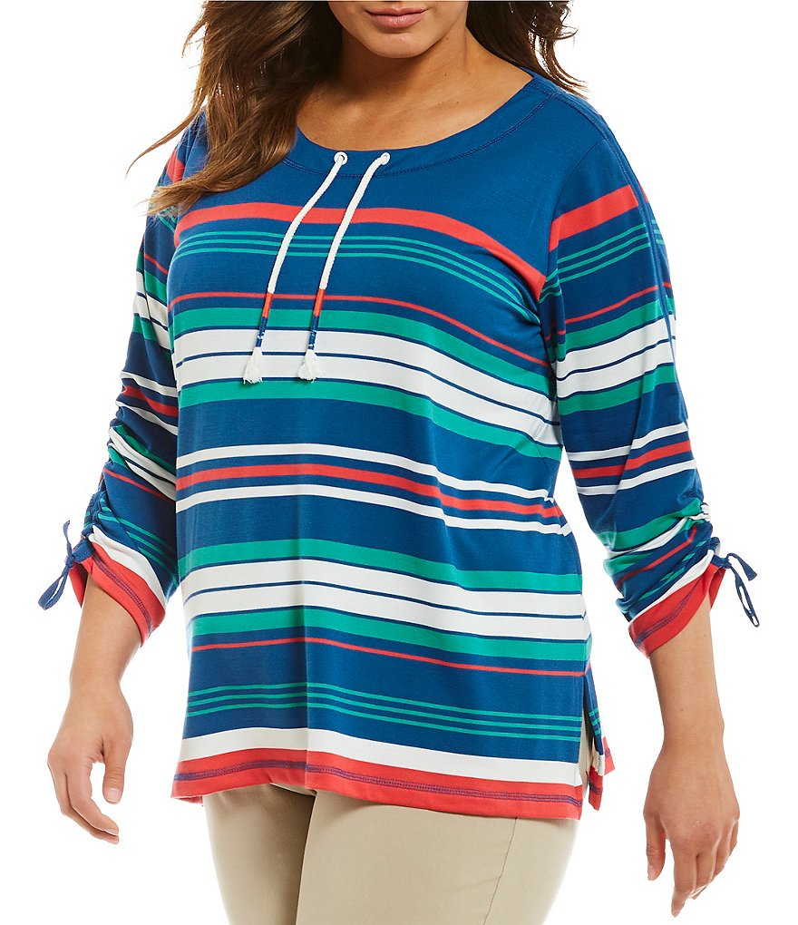 Ruby Rd. Plus Drawstring Neck Striped 3/4 Ruched Sleeve French Terry Pullover