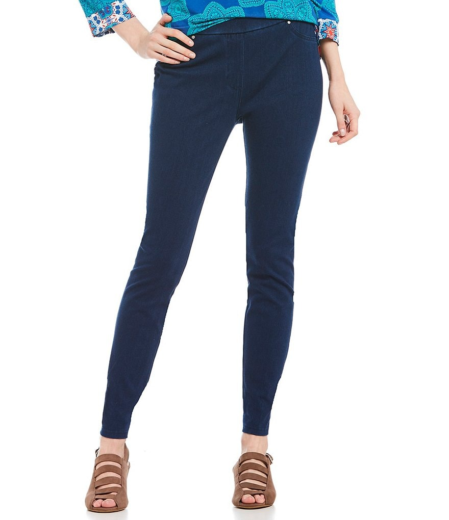Ruby Rd. Pull-On Knitted Indigo Twill Pants