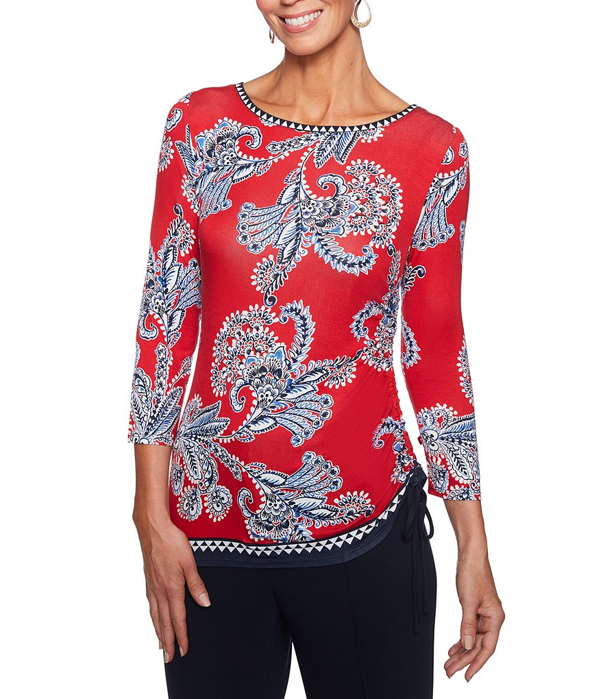 Ruby Rd. Romanian Fern Border Print Embellished Boat-Neck Knit Top