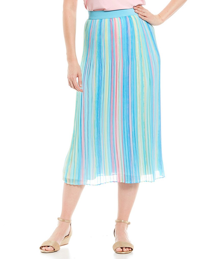 Ruby Rd. Vertical Sunset Stripe Print Pull-On Crystal Pleated Skirt