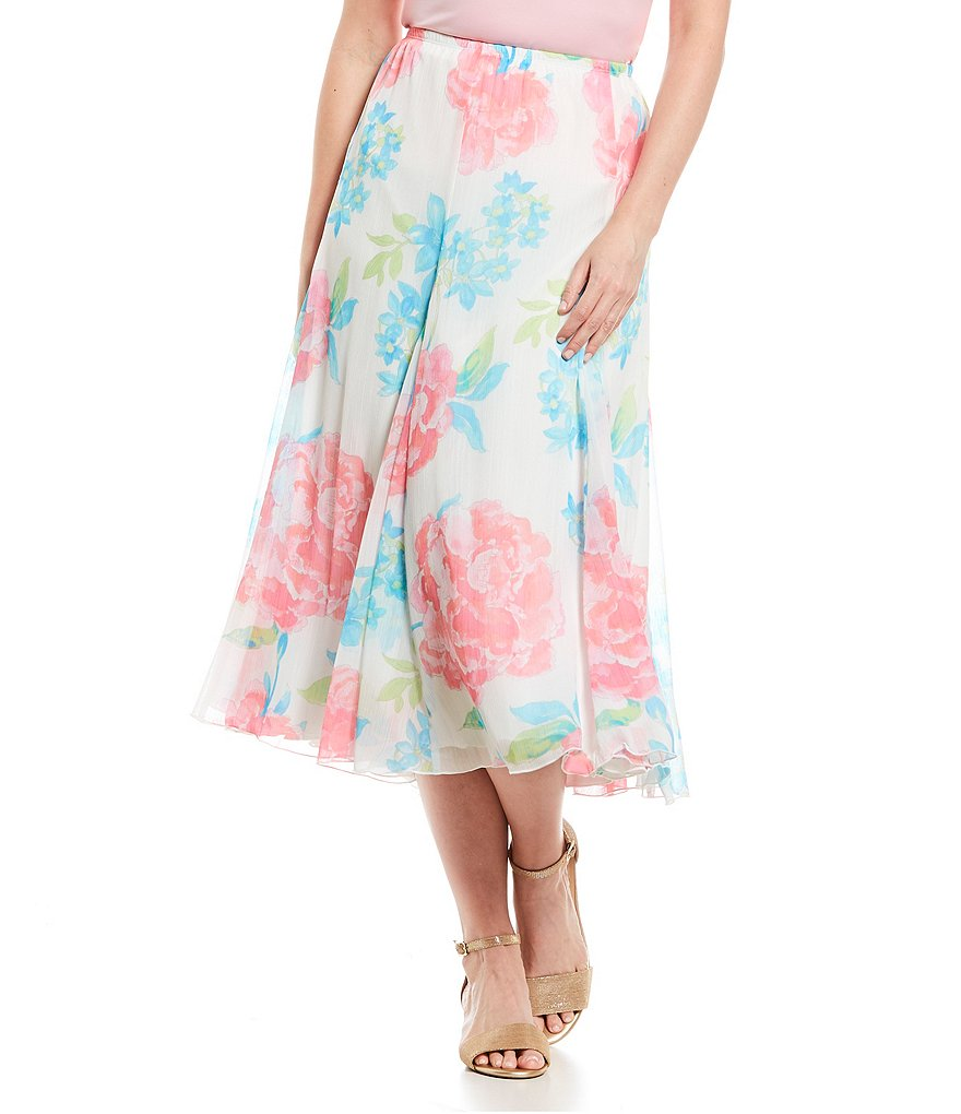 Ruby Rd. Watercolor Blooms Print Pull-On Long Gored Yoryu Skirt