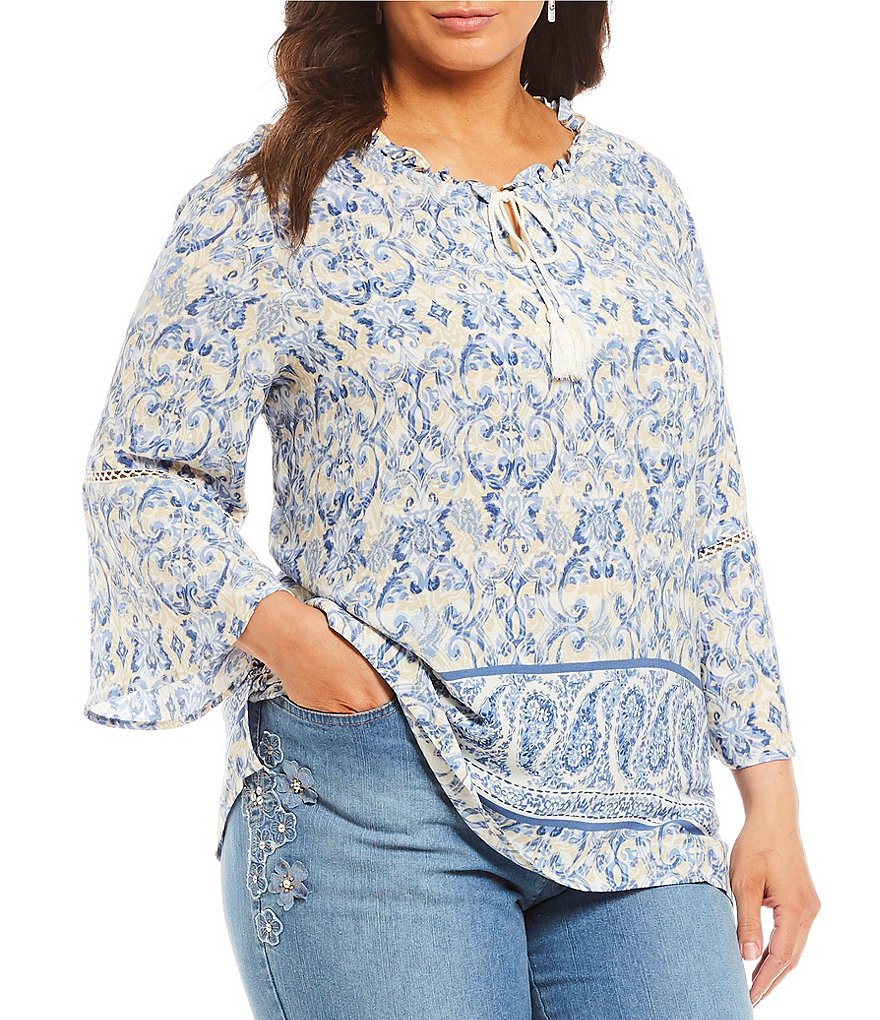 Ruby Rd.Plus Paisley Bell Sleeve Top