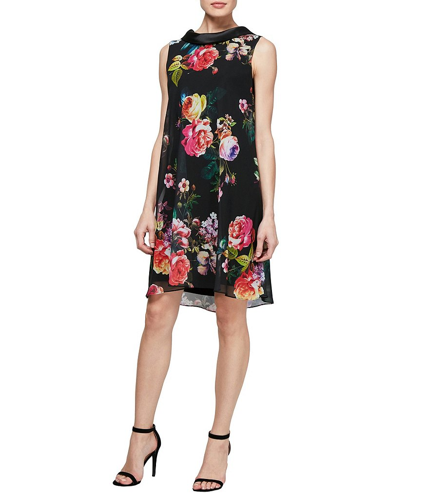 Ignite Evenings Stain Collar Floral Print Dress