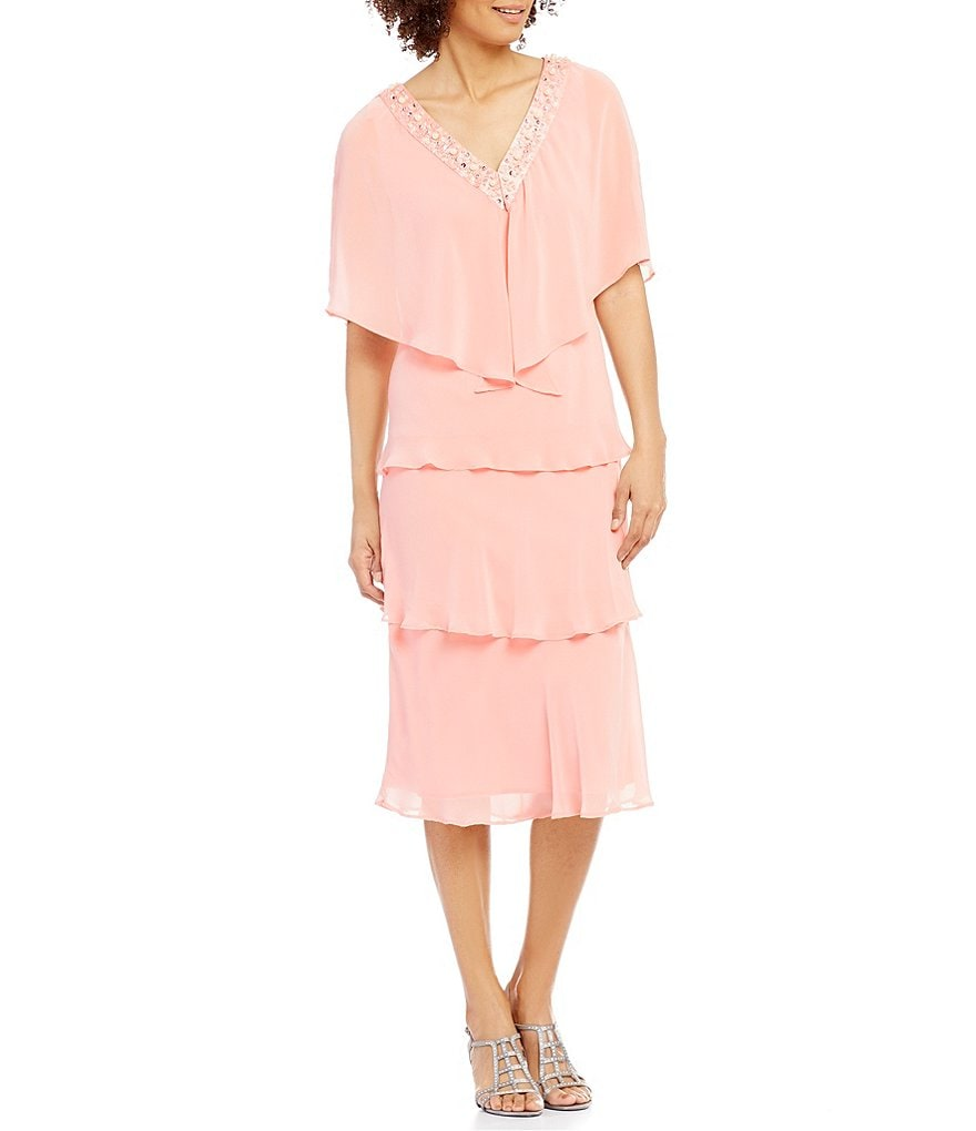 S.L. Fashions V-Neck Short Sleeve Popover Tiered Dress
