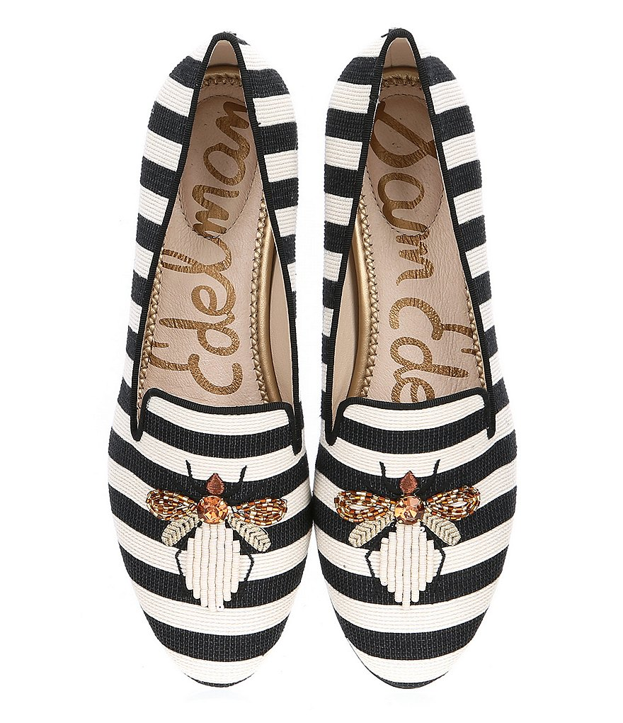 Sam Edelman Jill Woven Striped Beaded Embellishment Loafers
