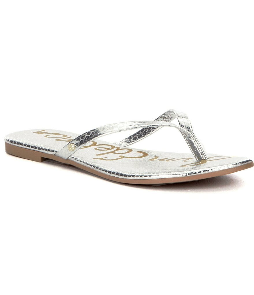 Sam Edelman Oliver Metallic Synthetic Thong Sandals