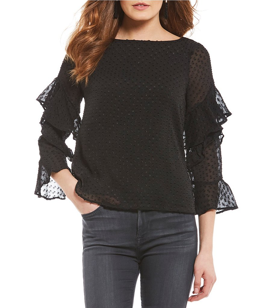 Sanctuary Bianca Ruffle Sleeve Clip Dot Blouse