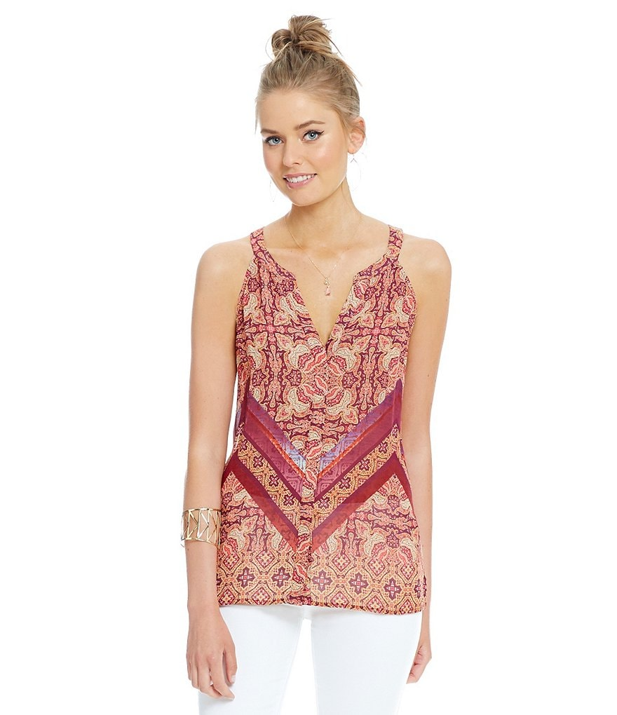 Sanctuary Border Shell Boho Printed Top