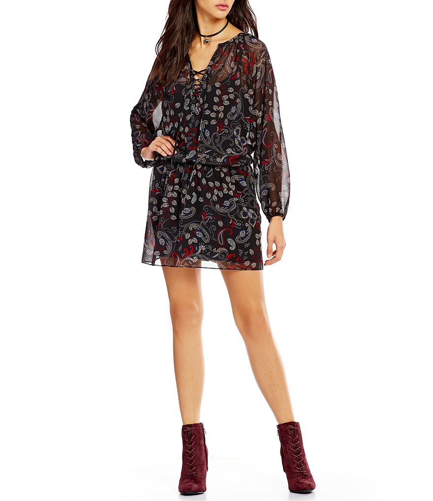 Sanctuary Cachet Lace-Up V-Neck Boho Dress