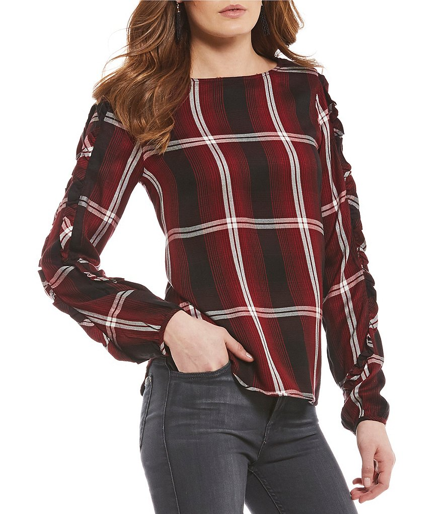 Sanctuary Josie Plaid Boat Neck Top
