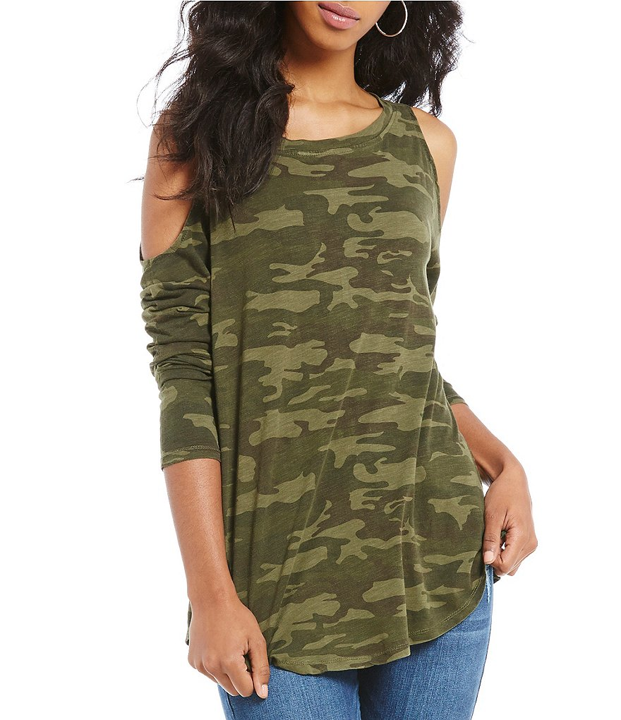 Sanctuary Lolita Camo Print Cold Shoulder Knit Tee