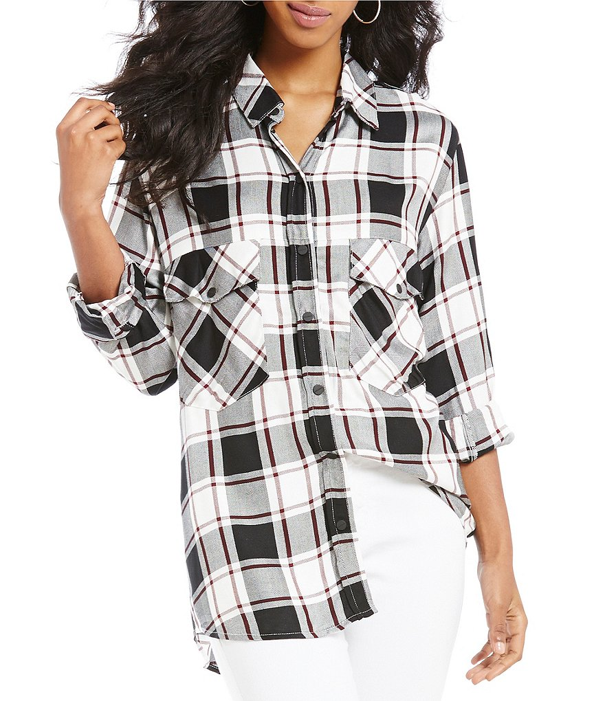 Sanctuary Plaid Boyfriend Button Front Blouse