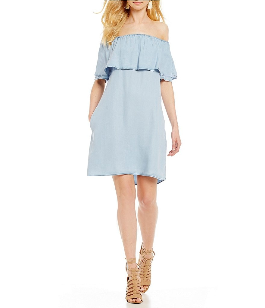 Sanctuary Stella Off-the-Shoulder Chambray Shift Dress