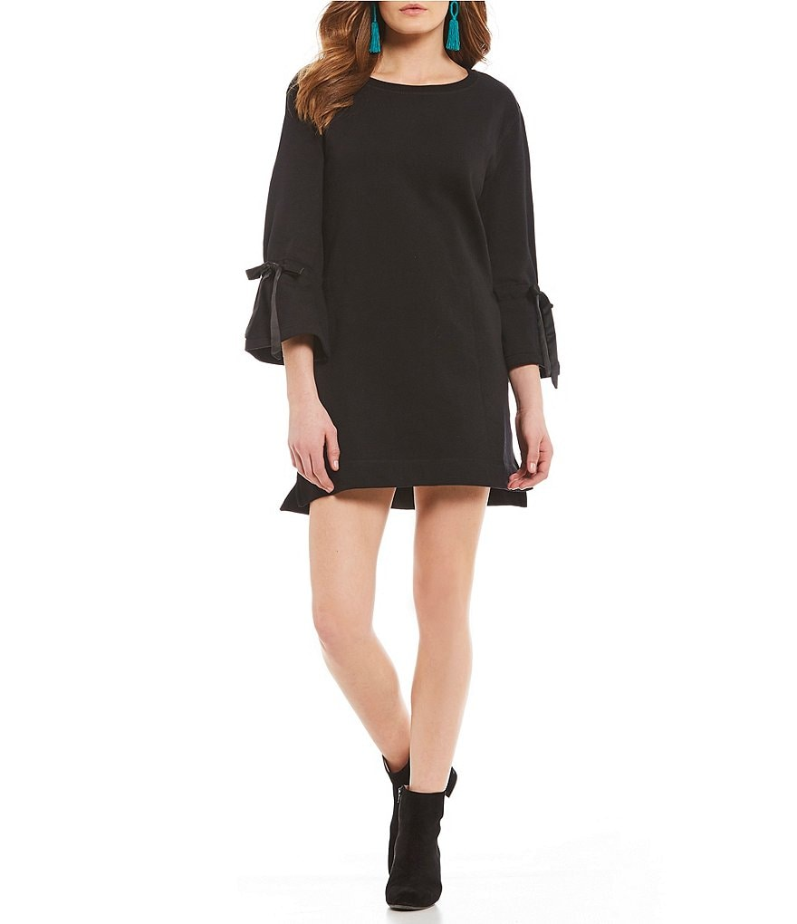 Sanctuary Street Bow Tie Bell Sleeve Sweatshirt Dress