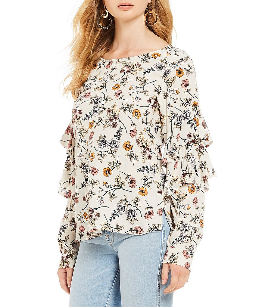 Sanctuary Tilly Floral Print Ruffled Flounce Blouse