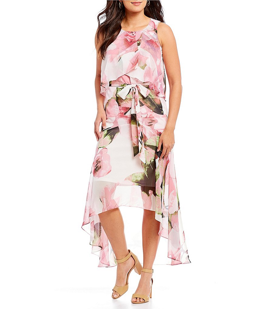 Sangria Floral Print Chiffon Tie Waist High Low Dress
