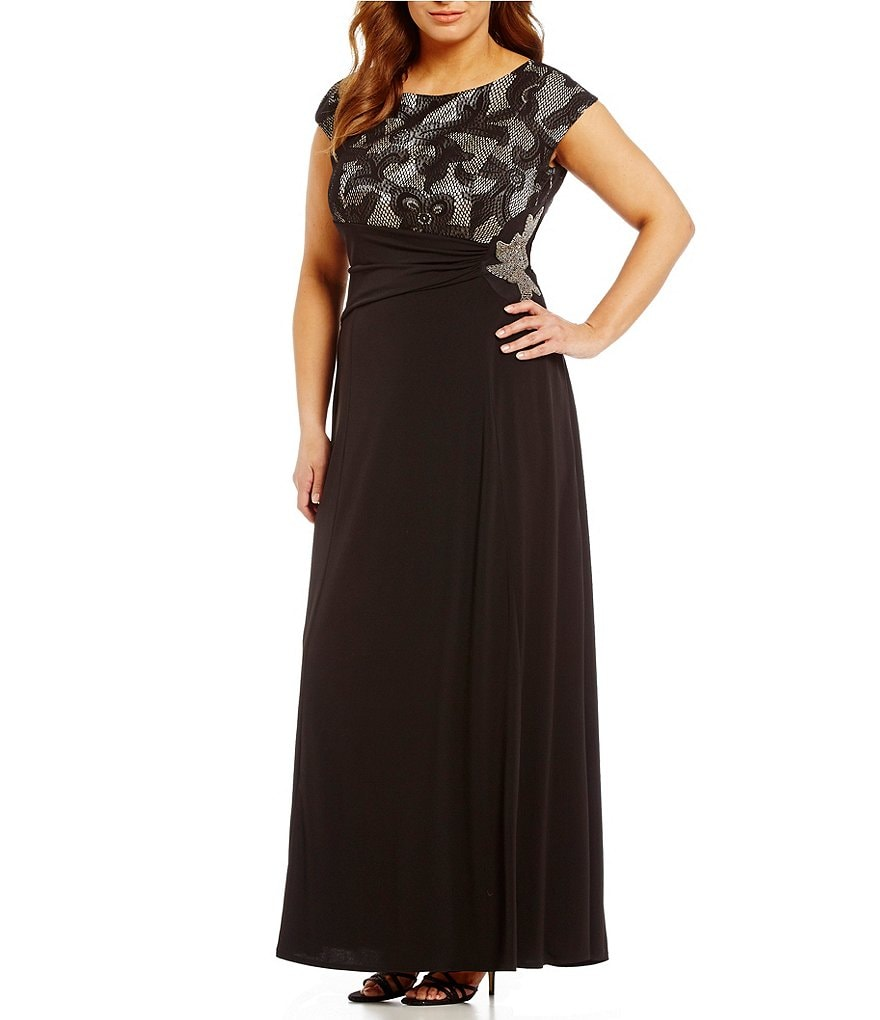 Sangria Plus Cap-Sleeve Lace Gown