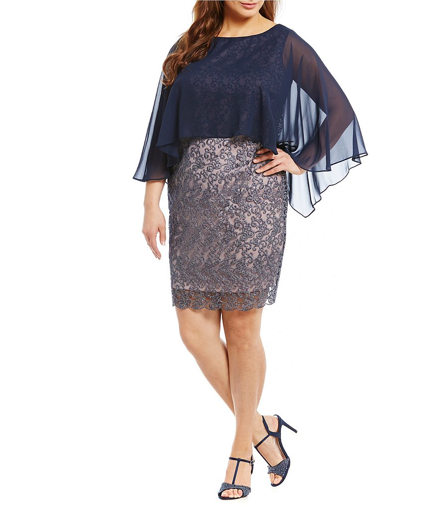 Sangria Plus Lace Capelet Dress