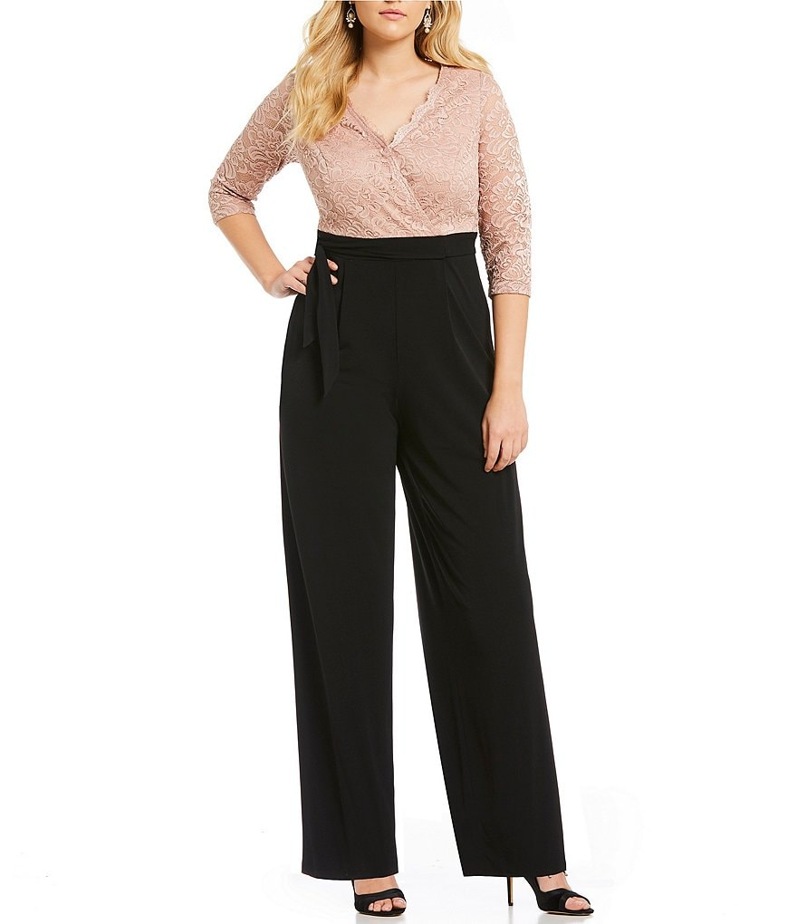 Sangria Plus Lace Faux-Wrap Jumpsuit
