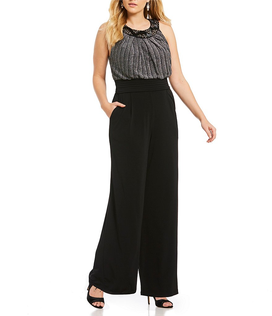 Sangria Plus Metallic Beaded Jumpsuit