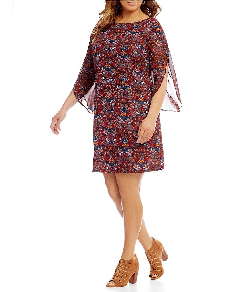 Sangria Plus Split-Sleeve Printed Shift Dress