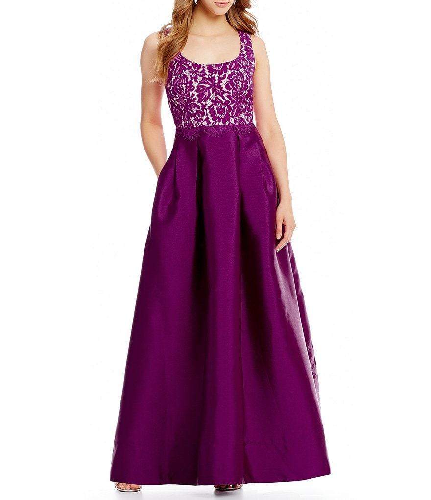 Sangria Scoop Neck Ball Gown