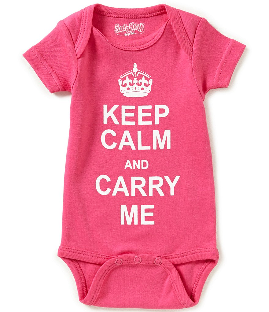 Sara Kety Baby Girls Newborn-12 Months Keep Calm And Carry Me Short-Sleeve Bodysuit