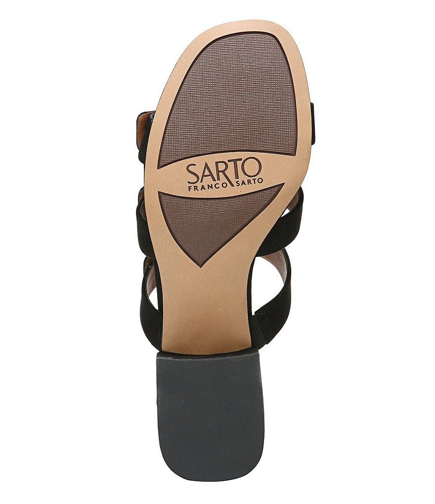 Man/Woman Sarto by Franco Franco Franco Sarto Arabesque Nubuck Metal Hardware Detail Block Heel Slide Sandals  Elaborate ee9899