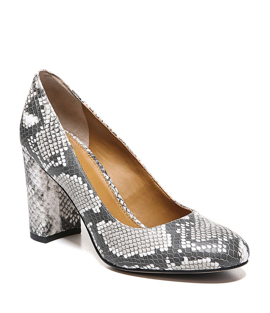 Sarto by Franco Sarto Snake Embossed Aziza Block Heel Pumps
