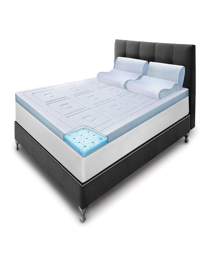 sensorpedic sensorcool gel memory foam mattress topper dillards. Black Bedroom Furniture Sets. Home Design Ideas