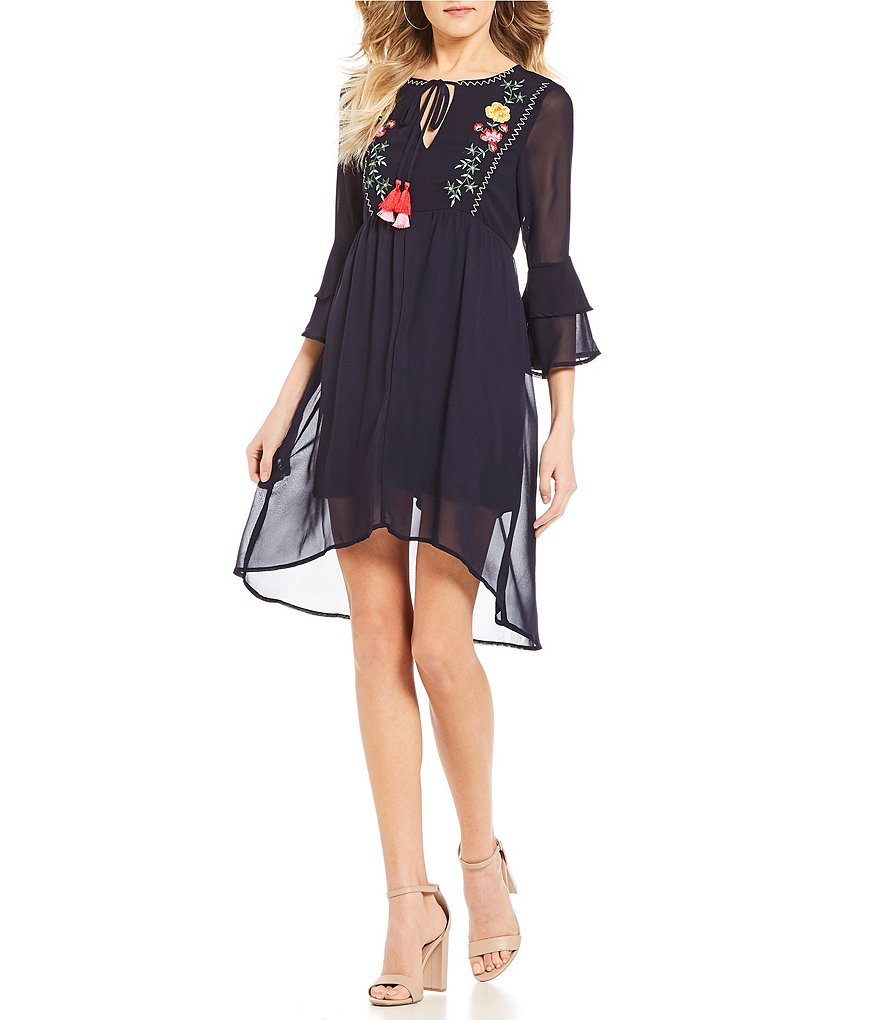 Sequin Hearts Bell Sleeve Embroidered Dress