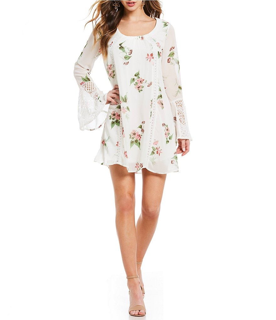 Sequin Hearts Bell-Sleeve Floral Print Shift Dress