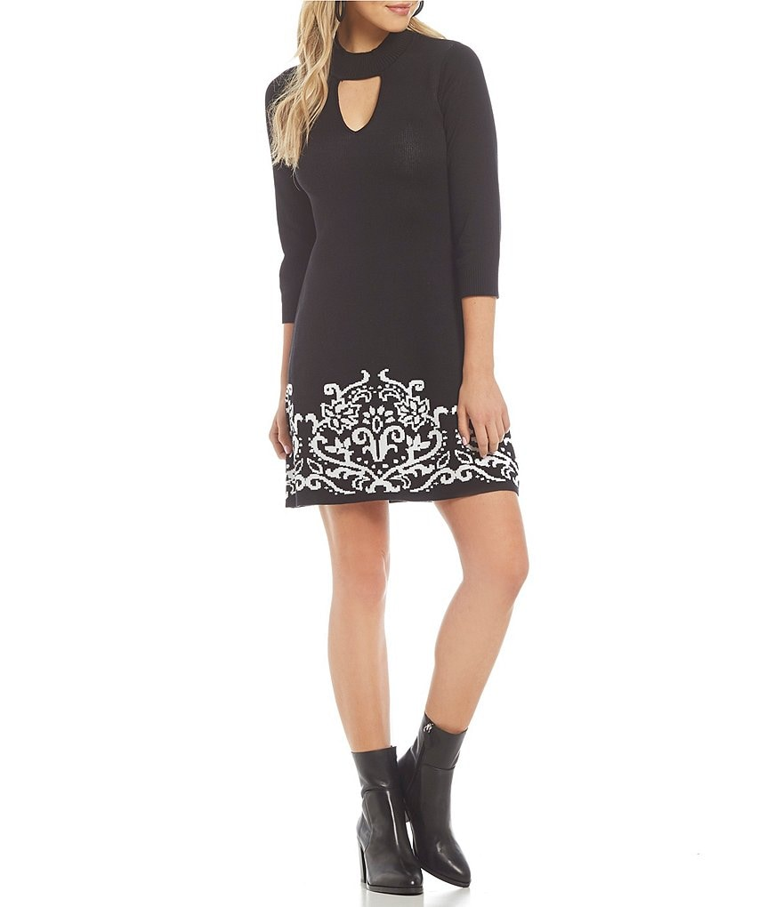 Sequin Hearts Border Hem Fit-And-Flare Sweater Dress