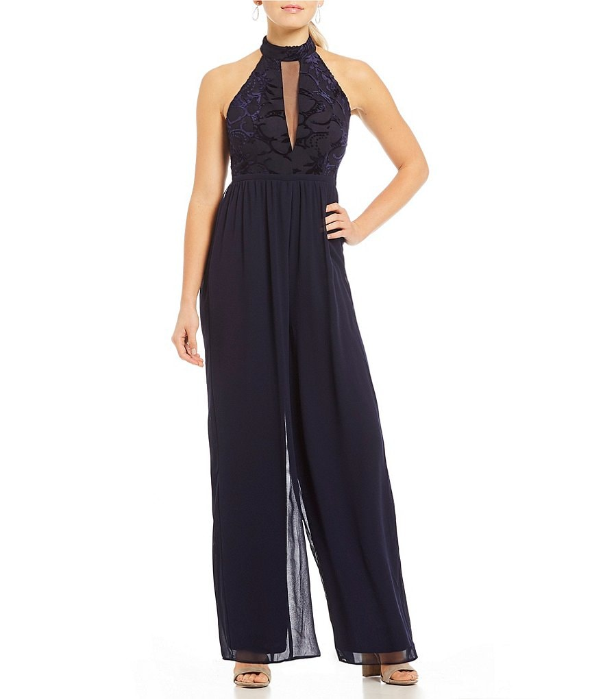 Sequin Hearts Burnout Velvet Bodice Jumpsuit