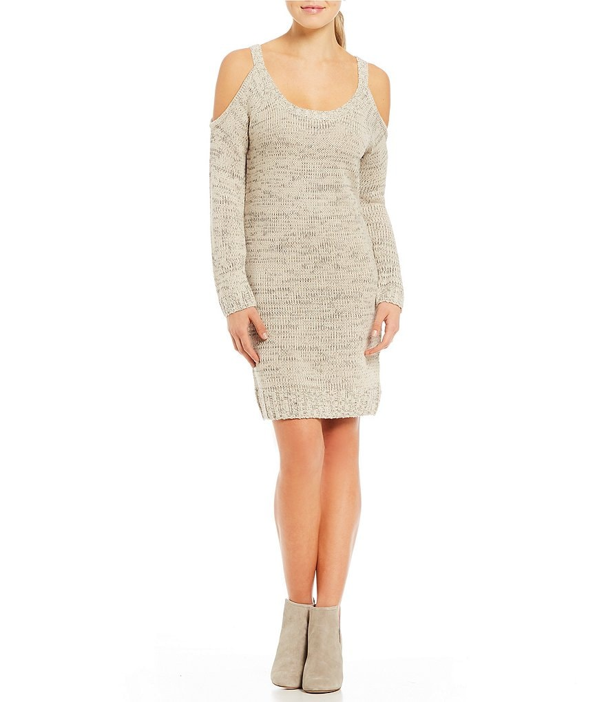 Sequin Hearts Cold-Shoulder Sweater Dress