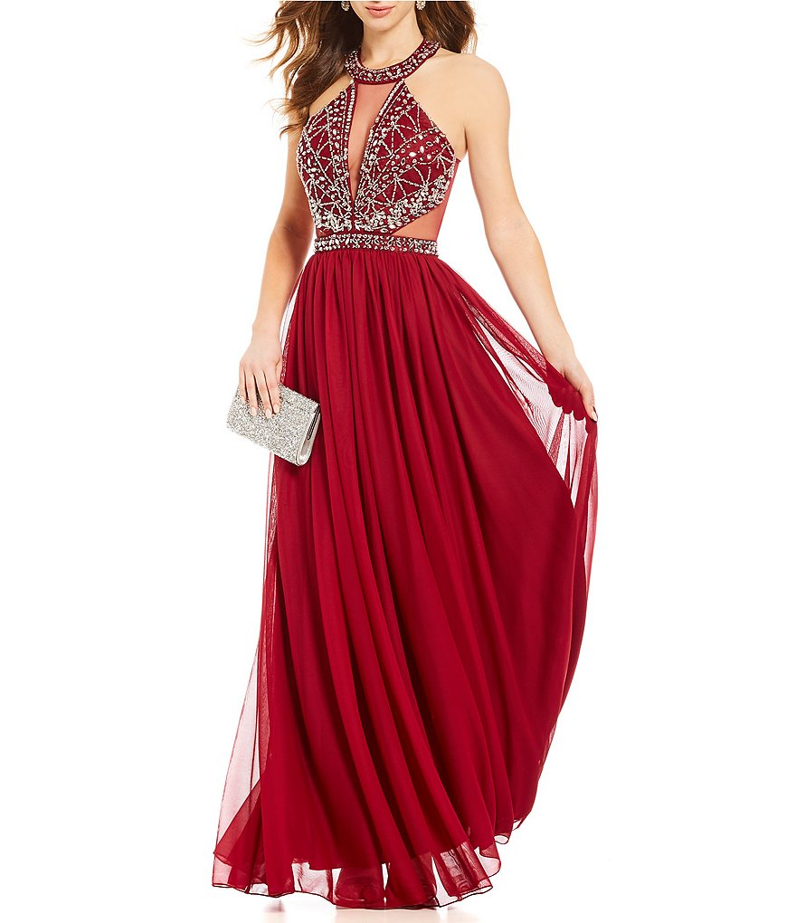 Sequin Hearts High Neck Beaded-Bodice Long Dress