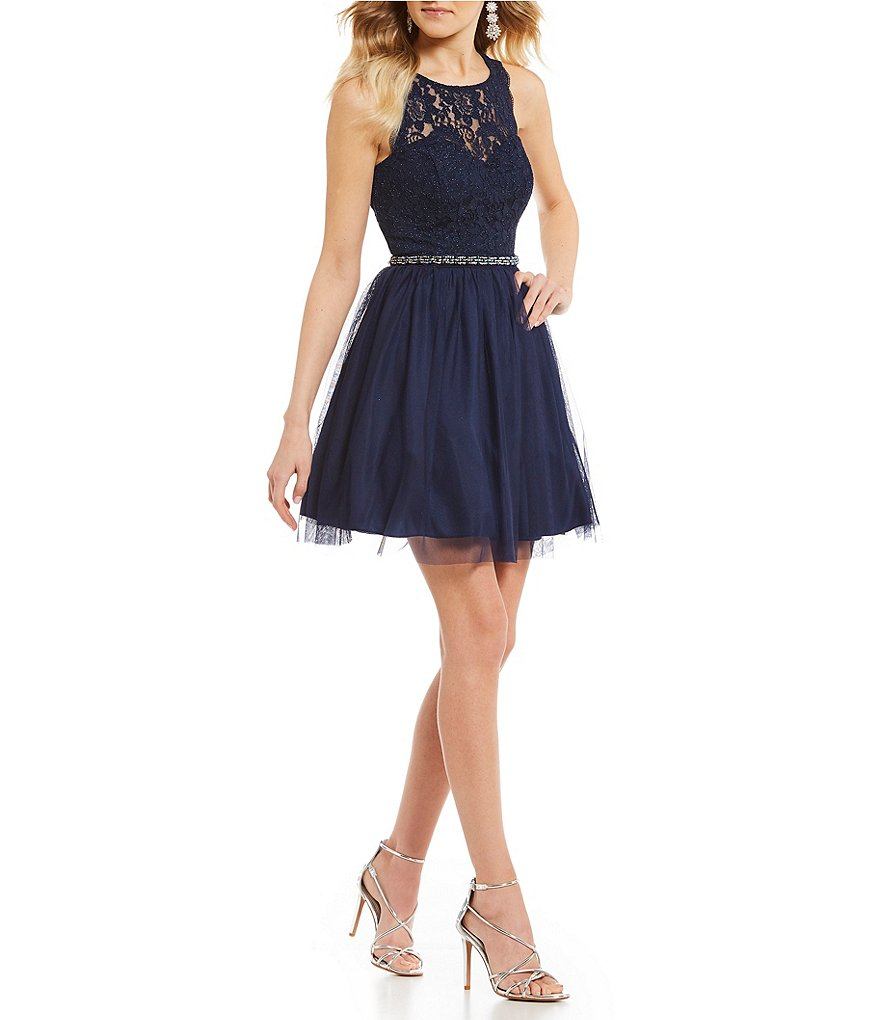 Sequin Hearts Lace Bodice Beaded Waist Fit-And-Flare Dress