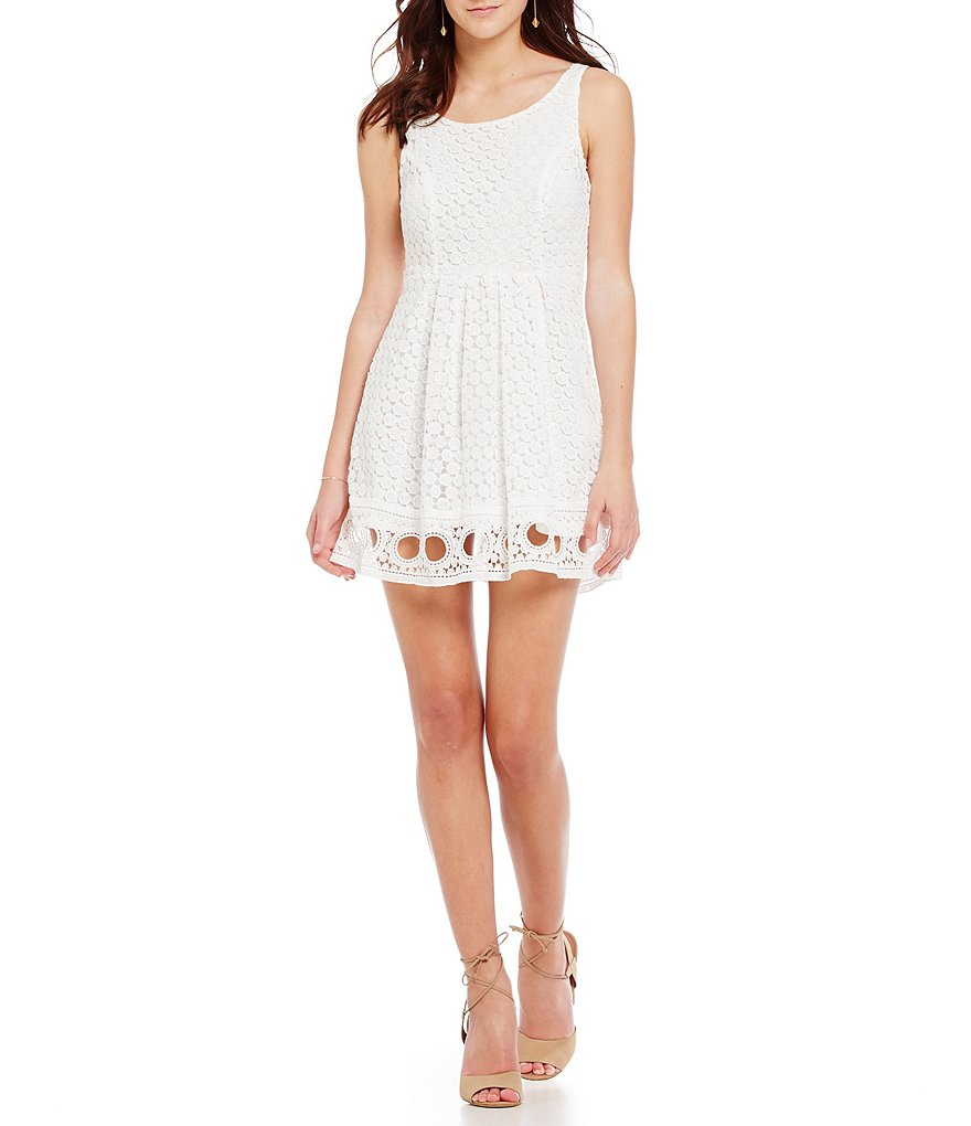 Sequin Hearts Lace Pleated Skirt Crochet Hem Dress