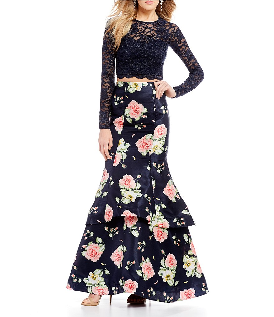 Sequin Hearts Lace Top with Floral Trumpet Skirt Two-Piece Dress