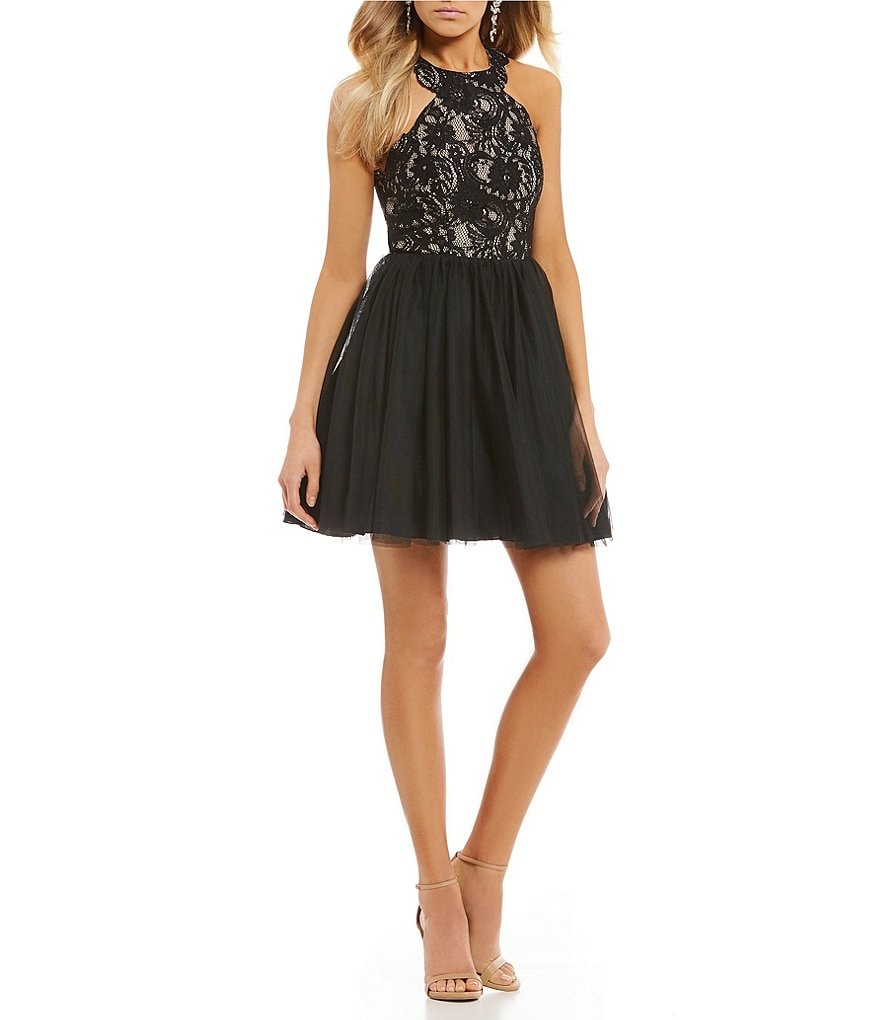 Sequin Hearts Lace with Mesh Fit-And-Flare Dress