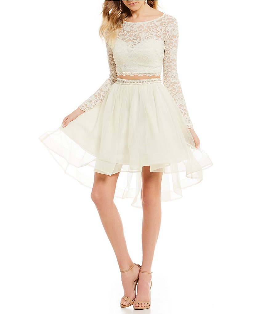 Sequin Hearts Long Sleeve Glitter Lace Top Two-Piece Dress