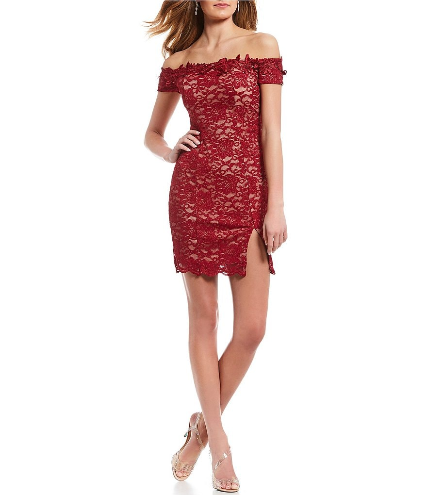 Sequin Hearts Off-The-Shoulder Glitter Lace Sheath Dress